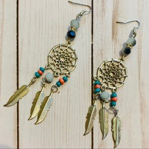Jewelry - Dream Catcher Dangle Bohemian Earrings Silver look